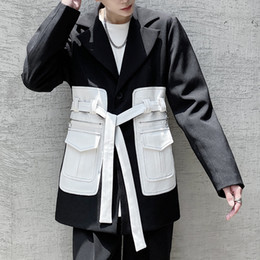 Wholesale korea men coat styles online – oversize Color Pocket Suit Coat For Men Suit Jacket Men Hip Hop Japan Korea Style Belt Suit Blazers Coat Outerwear