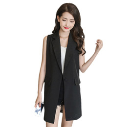 Wholesale summer waistcoats women for sale - Group buy Summer Vest Jacket Casual Women V neck Sleeveless Suit Coat Chiffon Back Hollow Out Splice Long Slim Cardigan Waistcoat f950