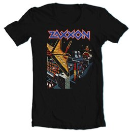 Zaxxon T-shirt retro vintage arcade video game 1980's black cotton graphic tee Fashion Classic tee shirt on Sale