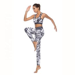 wholesale ski suits NZ - Hot Sale 3D Print Black White Marbling Pattern Abstract Line Women Yoga Pants Tops Fitness Suits Feminine Sport Suits