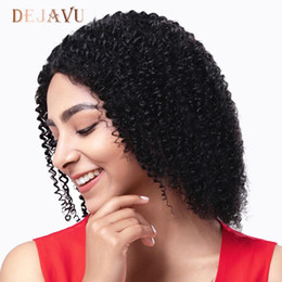 color bob wigs UK - Dejavu Kinky Curly Wig 13*4 Lace Front Human Hair Wigs Brazilian Remy Hair Short Curly Bob Wigs For Women 150% Deep Wave Wig