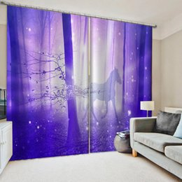 purple bedding sets UK - New purple forest curtains Window Blackout Luxury 3D Curtains set For Bed room Living room Office Decoration curtains