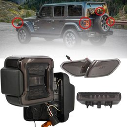 Discount led stop turn lights Smoked LED Tail Light & 3rd Brake Light Set for Wrangler JL 2020 2020 High Mount Stop Reverse Turn Signal