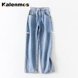 Wholesale women work pants for sale – dress Denim Pants Women KALENMONS Vintage High Waist Washed Jeans Pocket Bleached Summer Casual Trousers Baggy Work Jean Streetwear
