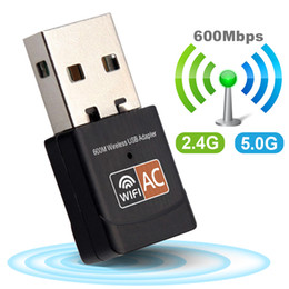 bantlı çift kartlar toptan satış-Kablosuz USB WiFi Adaptörü Mbps Wireless LAN Dongle PC Ağ Kart Dual Band wifi Ghz Adaptörü Lan USB Ethernet Alıcı AC Wi fi