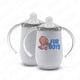 venda por atacado Transferência de sublimação de calor 10 onças Copa do bebê crianças Tumbler copos de Sippy com punho duplo Walled Stainless Steel Melhor para DIY F92504 garrafa em branco