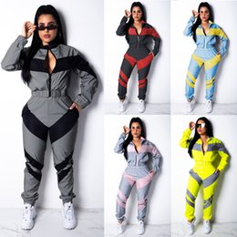 soccer tracksuit free shipping Australia - In Stock! Winter Women Two Pieces Outdoor Yoga Sport Tight Sportwear Casual Streewear Leisure Patchwork Tracksuits DHL Free Shipping