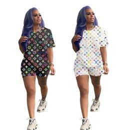 Wholesale desinger t shirts online – design Women desinger piece set summer clothing t shirt shorts sportswear leggings outfits pullover print letter crew neck sheath fashion