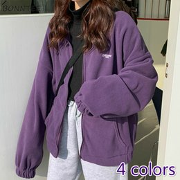 Wholesale girls fleece zip hoodie for sale – custom Hoodies Women Fleece Chic Letter Pocket Turn down Collar Korean White Womens Zip up Harajuku BF Daily Oversize Girls Streetwear