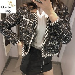 Wholesale new jackets designs ladies resale online - Fashion New Design Spring Autumn Womens Chic Plaid Tweed Jackets Long Sleeve V Neck Pearls Office Ladies Short Open Stitch Coats