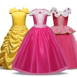 Discount belle cosplay Kids Dresses For Girls Halloween Princess Dress Belle Sleeping Beauty Cosplay Costume Christmas Party Fantasia Vestido i
