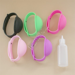 Wristband Hand Sanitizer Bracelet Dispenser Wearable Silicone Wrist Band Portable Bracelet and Bottle Sanitizer Holder Two Piece Set G10708 on Sale