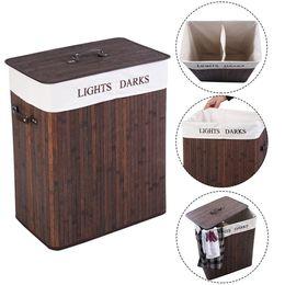 Waco Double-Rattics Strardry Storage Корзина для хранения корзины, классификация складной крышки, ткань затрудняет грязную одежду сортировщик бамбук темно-коричневый на Распродаже