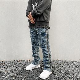 Wholesale denim drawstring for sale - Group buy Retro Ruched Side Zipper Jeans Men Straight Washed Streetwear Denim Trousers Elastic Wasit Hip Hop Mens Jeans Pants