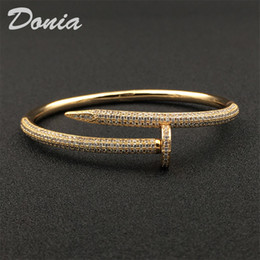 Wholesale american nails resale online - Donia jewelry party European and American fashion large nails classic micro inlaid Zircon Bracelet Designer Bracelet
