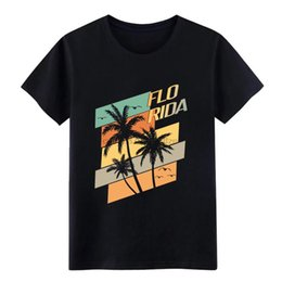 Florida Retro Palms Ampamp Seagulls T Shirt Print Cotton S-XXXL Natural Famous Basic Spring Pictures Shirt