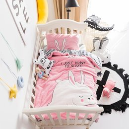 toddler bedding sets Australia - Lambs Fleece Cartoon Applique Bedding Set for Baby kids Warm Soft Duvet Cover Bed Sheet Pillowcases Toddler Twin Queen King size