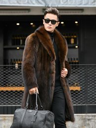 Wholesale brown mink fur coat for sale - Group buy Brown faux mink fur leather jacket mens warm long fur leather coat men loose jackets winter autumn thicken jaqueta de couro m297