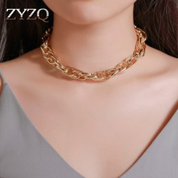 bulk linked chain UK - ZYZQ Punk Thick Chain Design Necklace For Women Personality Simple Choker Necklace Wholesale Lots&Bulk Hot Selling Jewelry