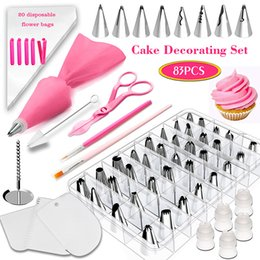 nozzle for pastry UK - 83PCS Set Nozzles for Confectionery Bag Cake Icing Decorating Tools Confectionery Nozzles Cream Nozzles Reusable Pastry Bag T200524