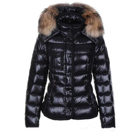 Wholesale parka woman natural fur hooded resale online - womens down jacket Fur collar Winter jacket parkas Coats Top Quality Women Winter Casual Outdoor Warm Feather Outwear Hooded