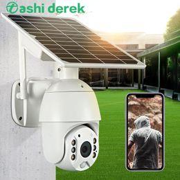 venda por atacado Painel Camera NOVO Solar Wifi / 4G 1080P HD Outdoor PTZ longa espera Segurança Wireless Camera Monitor de IP66 Vigilância Waterproof
