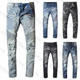 Wholesale 20ss Mens Designer Jeans Distressed Ripped Biker Slim Fit Motorcycle Biker Denim For Men s Top Quality Fashion Mans Pants pour hommes