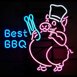Wholesale neon bbq sign for sale – custom cgjxs New Condition Neon Sign Best Bbq Real Glass Tube Bar Club Room Handmade In The Wall Game Room