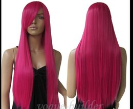 Wholesale hot boy cosplay for sale – halloween 75cm inch High temp Long Hot Rose Pink Straight Cosplay Halloween Hair Wig