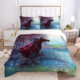 full size horse bedding set 2020 - 3D Bedding Sets Duvet Quilt Cover Set Comforter Case Bed Linens King Queen Full Single Size Colorful Animal Horse Home T