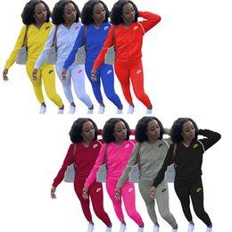 Wholesale red baseball jacket women for sale – winter Women designer piece set Sportswear XL jacket pants SweatSuits Zipper Hoodies Legging tracksuit jogging suit Fall winter clothing