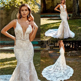 eve wedding dresses UK - Eve Of Milady 2019 Wedding Dresses Sexy Deep V Neck Lace Appliqued Backless Bohemia Mermaid Bridal Gowns Sweep Train Plus Size Wedding Dress