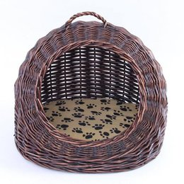 kennel cages NZ - Rattan cat nest cat house cage rattan willow kennel kennel pet nest Teddy Pomerol summer four seasons universal remova