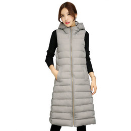 down vest women long NZ - Hooded Sleeveless Long Vest Women Cotton Winter Jacket Women Gray Black Slim Womens Vest Coat Chaleco Mujer Warm Waistcoat C6675