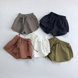 white cargo shorts 2021 - HX INS Korean Quality Styllish Kids Straps Shorts Spring Autumn Pure Cotton Girls Shorts Baby Shorts Kids Bottoms Children Unisex Pants