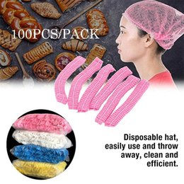 mesh hair weave net Canada - 100PCS Disposable Mesh Cap Pleated Elastic Mesh Non-woven Hair Net Caps Cosmetics Kitchen Cooking Hat Hair Hat Shower Cap