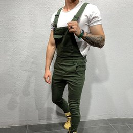 Wholesale overalls denim for man for sale – denim Fashion Men s Ripped Jeans Jumpsuits High Street Distressed Denim Bib Overalls For Man Suspender Pants Size S XXL
