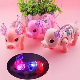 baby light toy UK - Light toys children hand leash pigs toy 2020 hot selling LED Music and light toy gift of the baby