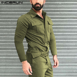 INCERUN Mens Cargo Overalls Pockets Zippers Jumpsuits Mens Fashion Solid Color Rompers Man Long Sleeve Lapel Bib Pants Plus Size
