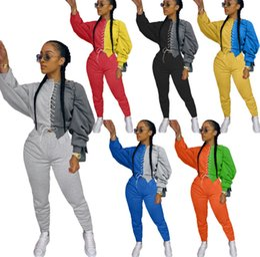 Wholesale black slim trousers women resale online – Women Two Piece Pants Set Fashion Tracksuit Long Sleeve Stitching Contrast Top Trousers Outfits Ladies Fashion Casual Plus Size Clothing