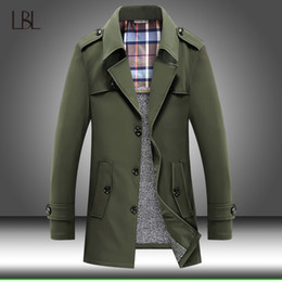 Wholesale mens vintage wool coat resale online - Men Overcoat Vintage Long Trench Coat Mens Fleece Warm Jacket Coats Male Business Casual Thicken Solid Windbreak Winter Outwear