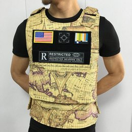 neck armor Australia - Europe and America 2020 Men's Fashion Designer Vest Retro Print Motorcycle Vest Men's Hip Hop Fashion Pocket Vest High Quality Body Armor Ve