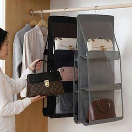 6 Pocket Folding Hanging Large Clear Handbag Purse Storage Holder Anti-dust Organizer Rack Hook Hanger on Sale