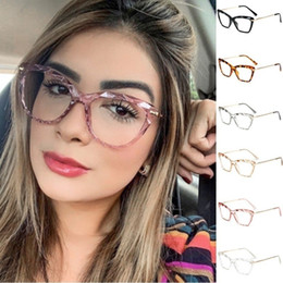 cat eye frames rhinestones 2021 - Cat Eye Transparent Square Glasses Frames for Women Trendy Brand Sexy Ladies Optical Computer Cat Eye Glasses with Rhinestone