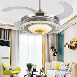 crystal ceiling fan lights 2021 - Led Ceiling Fans Three-color Dimming Fan Light Living Room Bedroom Light Luxury Crystal Ceiling Fans with Lights