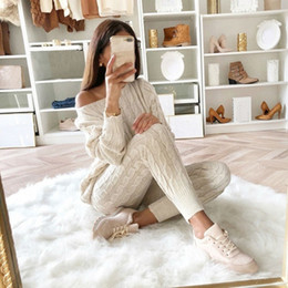 Wholesale sexy winter outfits for sale - Group buy women sweater Knitted Piece Set Long Sleeve Crop Tops And Long Pants Sexy Autumn Winter Sweater Two Piece Set Outfits T200821