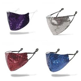 spring fasion UK - Sipping Fasion Bling Bling Sequin Mask Spring Summer Outdoor Suncreen Anti-Dust Breatable Wasable Mask#273#103