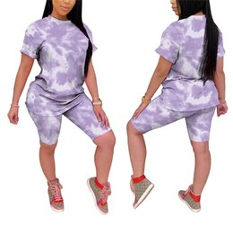 Wholesale tight ladies suit resale online - 2020 Fashion Women Ladies Sports Two Piece Tracksuits Tie dye Pattern Round Neck Pullover Top Tight Shorts Suit Sportswear