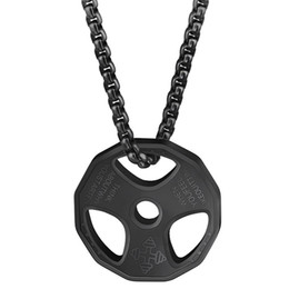 weightlifting chains NZ - Stainless Steel Fitness Necklace Cool Weight Plate Pendant Black Barbell Dumbbell Weightlifting Bodybuilding Crossfit Sports Jew
