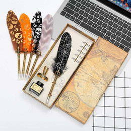pen boxes Australia - Natural retro Halloween feather dipped in water steel pen set writing ink luxury gift box can be customized LOGO Christmas gift